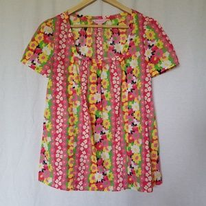 Lily Pulitzer floral blouse top size small